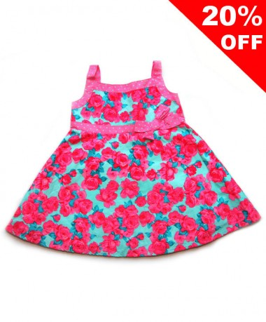 Floral pattern dress with front ribbon