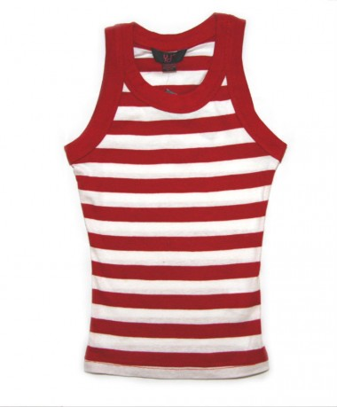 Red/white striped sleeveless t-shirt