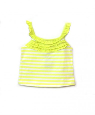 Lime green striped singlet