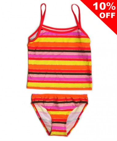 Multi coloured striped tankini