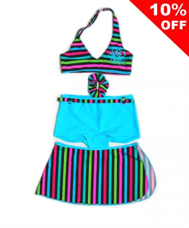 Multi coloured striped swimwear