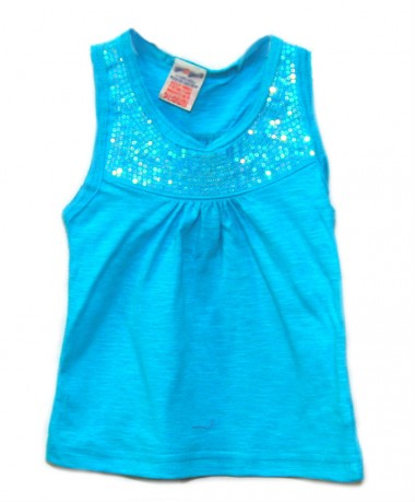 Blue sleeveless top with sequin