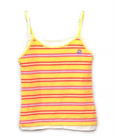 Yellow with red striped vest