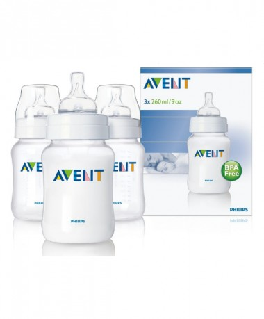 Philips AVENT BPA Free 9oz/260ml Classic Bottles (Triple Pack)