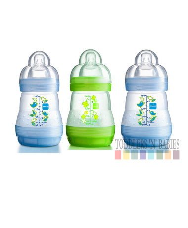 MAM Anti Colic Self Sterilsing 160ml/5.5oz Bottles Blue (triple pack)