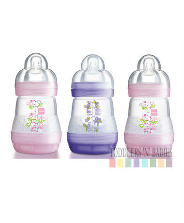 MAM Anti Colic Self Sterilsing 160ml/5.5oz Bottles Pink (triple pack)