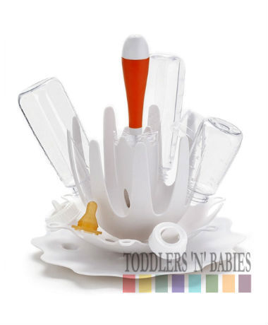 Skip Hop Splash Bottle Drying Rack with Brush White
