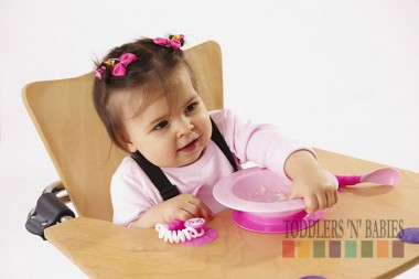 Ezee Reach Stay Put Cutlery & Bowl (BPA Free) - Pink