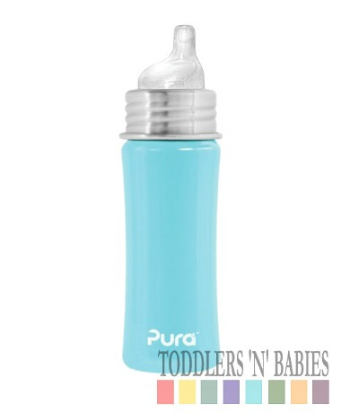 Pura Kiki 11oz Sippy Bottle Aqua Blue