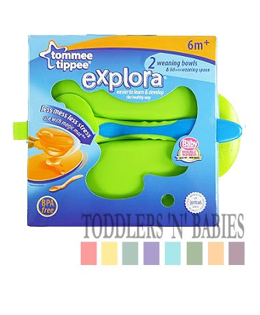 Tommee Tippee Explora Weaning Bowls, Lid & Spoon - Green