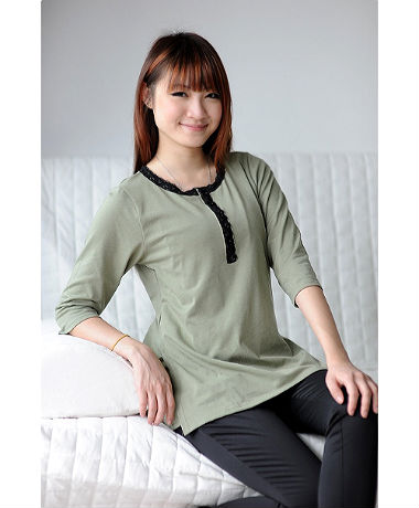 Autumnz Lacestitch Tee - Misty Green
