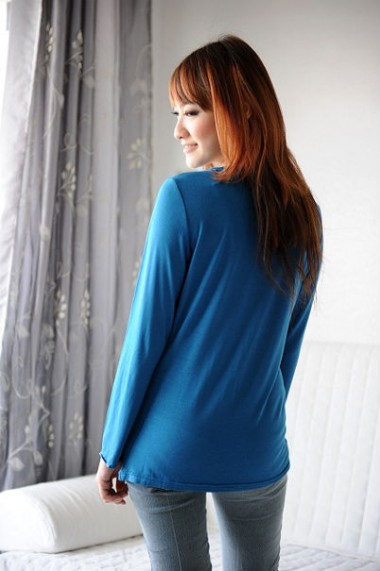 Autumnz Perfect Twist Long Sleeve Top - Blue Wash