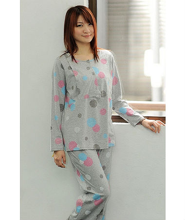 Autumnz Polka Pyjamas Set - Grey