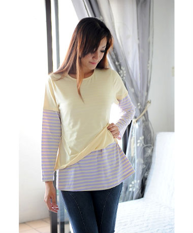 Autumnz Twilight Tee - Cream/Lilac Stripe
