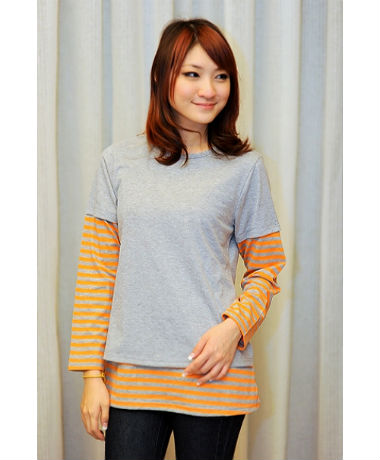 Autumnz Twilight Tee - Grey/Orange Stripe