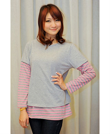 Autumnz Twilight Tee - Grey/Pink Stripe