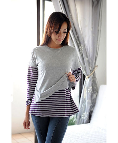 Autumnz Twilight Tee - Grey/PurpleStripe